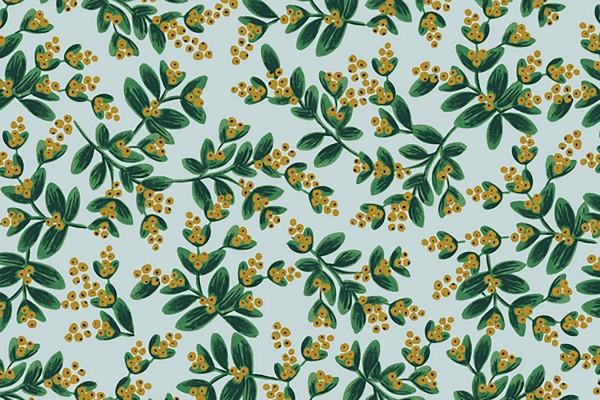 Cotton and Steel Rifle Paper Holiday Classics Mistletoe mint metallic