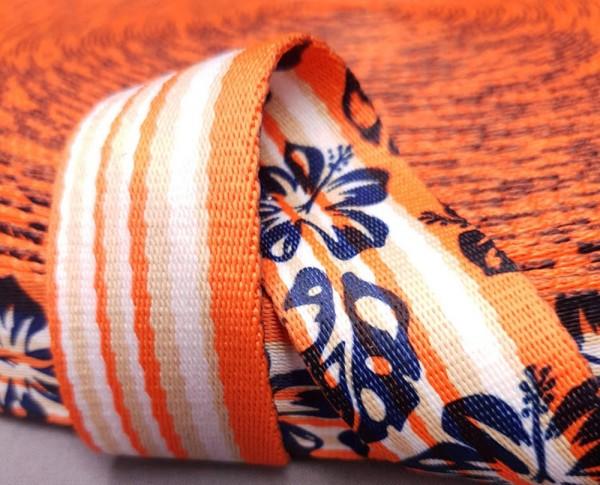 Gurtband bedruckt Hibiscus orange
