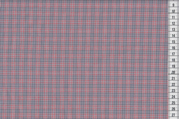 Westfalenstoffe Bergen Gitterkaro klein grau/rot