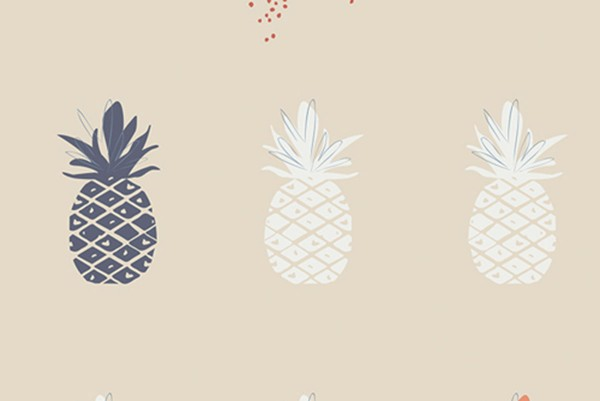Canvas Ananas cream Charleston by Amy Sinibaldi