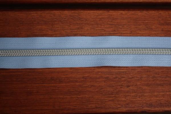 Reißverschluss metallisiert hellblau breite Raupe