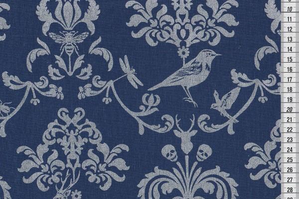 Echino classic animals royalblau/silber