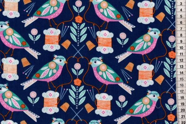 Stitch Birds on navy Bethan Janine for dashwood studio