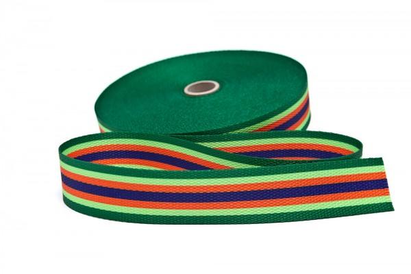 Gurtband bedruckt Streifen grün/limone/orange/marine