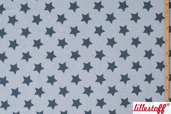 Lillestoff Jersey Sterne hellgrau meliert Stars