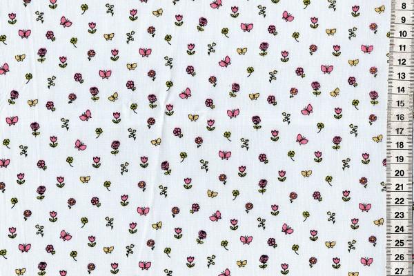 Baumwolldruck Streublümchen auf hellgrauem Untergrund