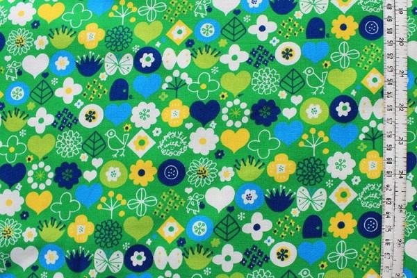 KOKKA Blumen grün gelb türkis