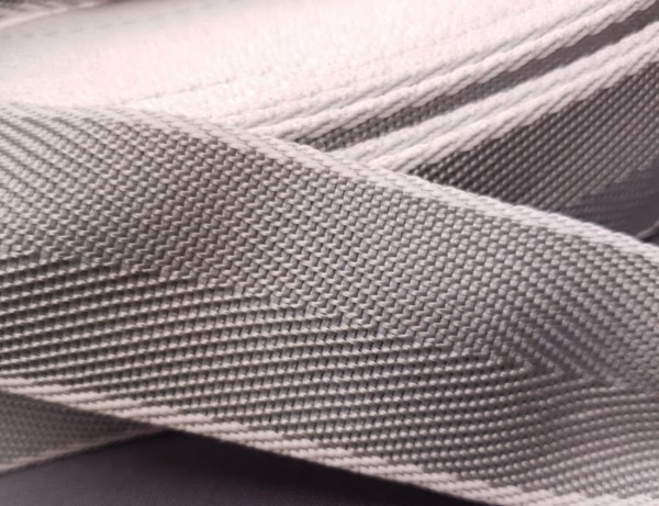 Gurtband 4 cm hellgrau/weiß